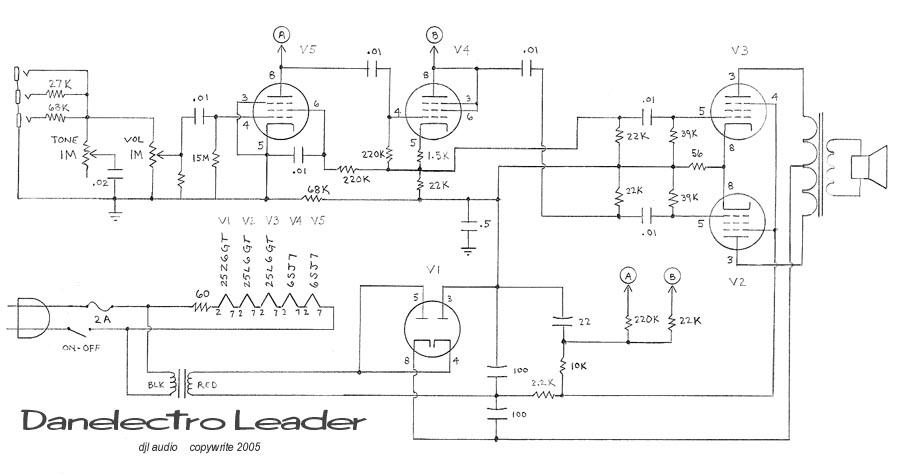 danelectro wiring diagram antique radio forums • view topic - 1953 danelectro leader ...